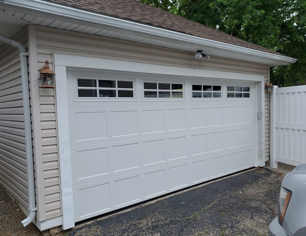 New carriage style garage door with windows